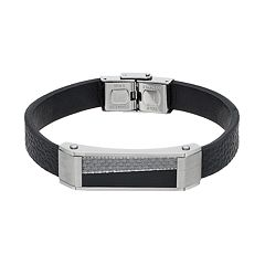 Men's Stainless Steel & Black Leather Carbon Fiber Bracelet