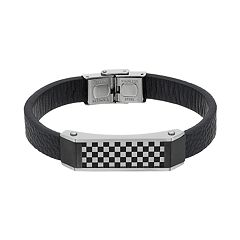 Men's Stainless Steel & Black Leather Checkerboard Bracelet