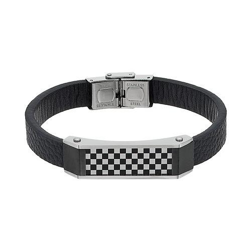 Men's Stainless Steel & Black Leather Checkerboard Bracelet