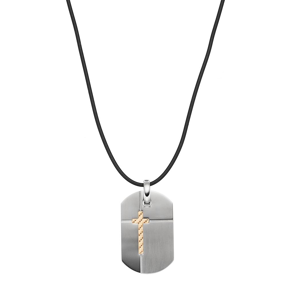 Men's Stainless Steel Cross Dog Tag Necklace