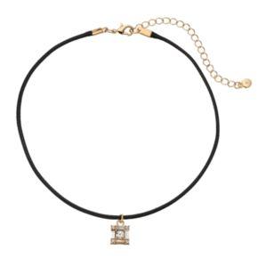 LC Lauren Conrad Square Pendant Cord Choker Necklace