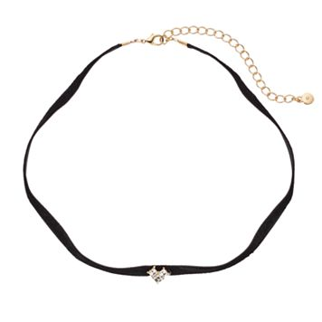 LC Lauren Conrad Simulated Crystal Chevron Faux Suede Choker Necklace