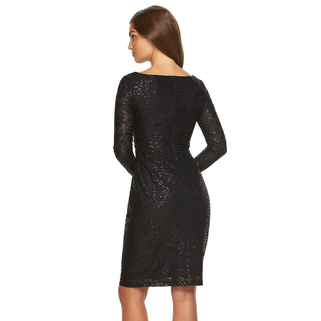 Women's Chaps Lace Sequin Sheath Evening Dress