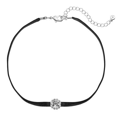 LC Lauren Conrad Round Halo Velvet Choker Necklace
