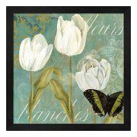 Metaverse Art White Tulips I Framed Wall Art