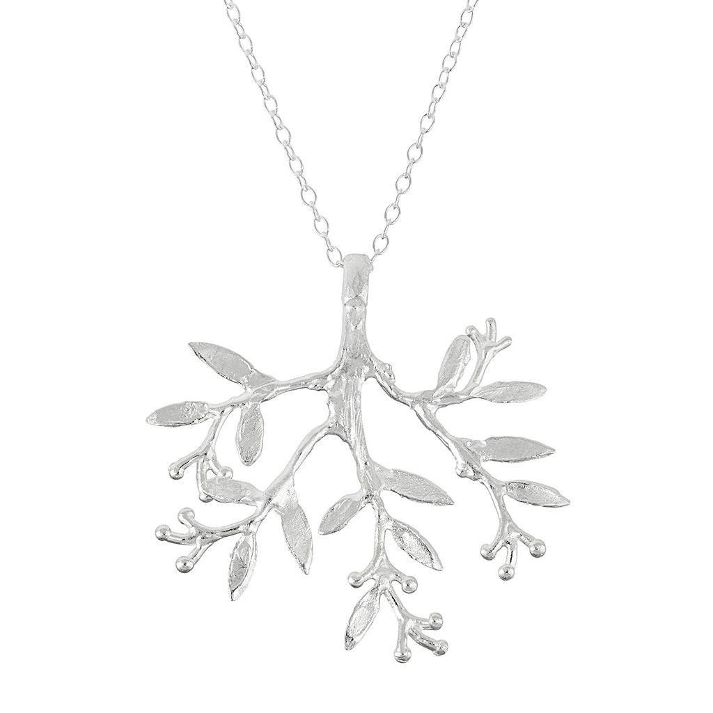 Journee Collection Sterling Silver Leaf Pendant Necklace