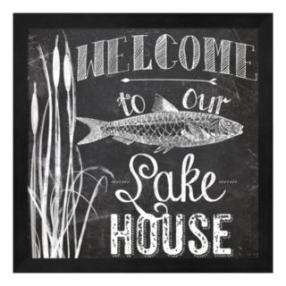 """Metaverse Art """"Welcome To Our Lake House"""" Framed Wall Art"""