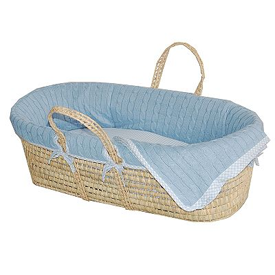 Sleeping Partners Cable-Knit Moses Basket - Blue