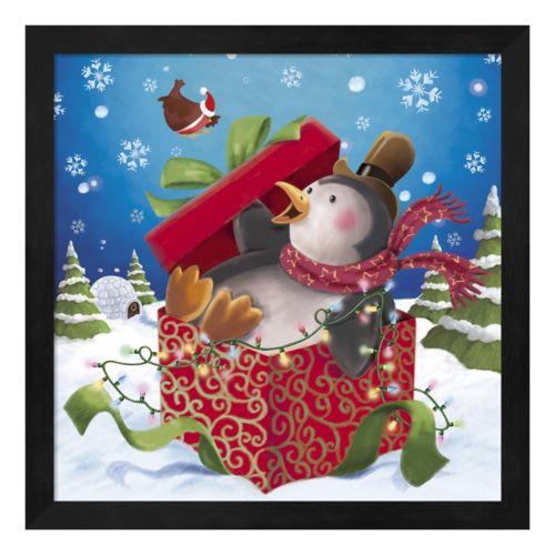 Metaverse Art Penguin Holiday Surprise Framed Wall Art