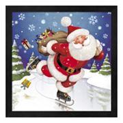 Metaverse Art Santa Skating Framed Wall Art