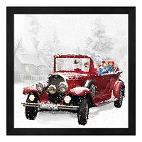 Metaverse Art Santa's Red Classic Car Framed Wall Art