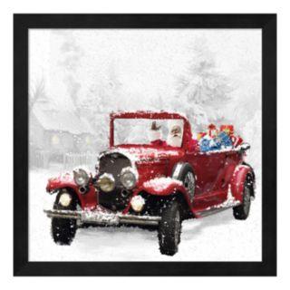 Metaverse Art Santa's Red Classic Car Framed Wall Art