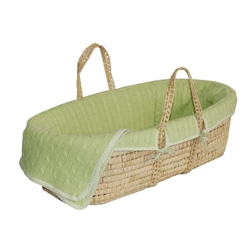 Sleeping Partners Cable-Knit Moses Basket - Green