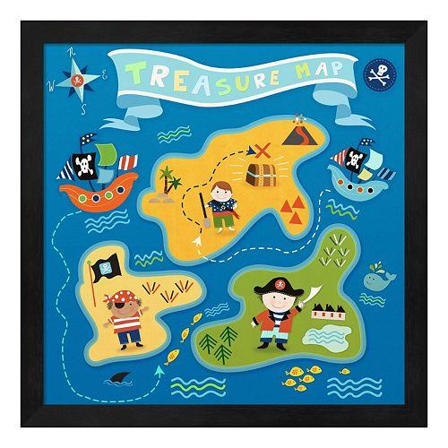 Metaverse Art Treasure Map Framed Wall Art