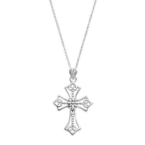 PRIMROSE Sterling Silver Scroll Cross Pendant Necklace
