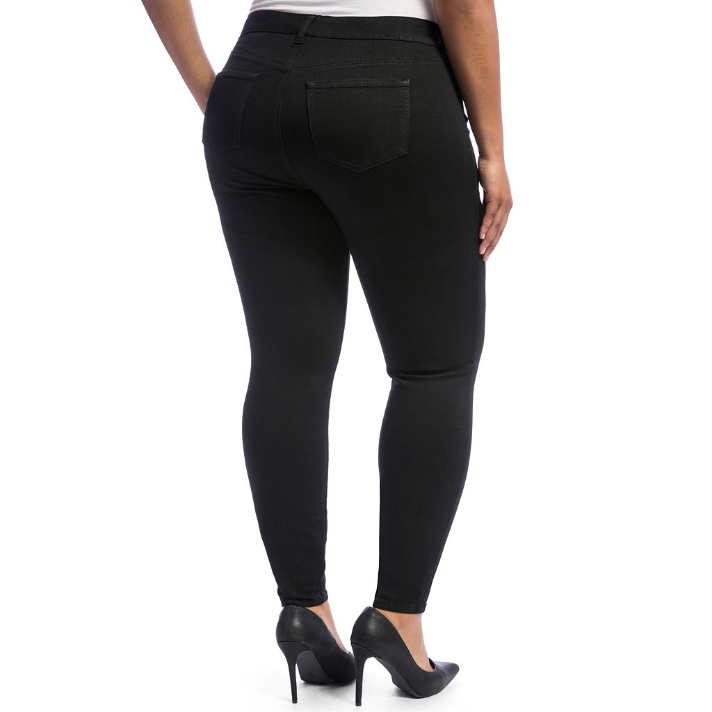 Juniors' Plus Size Crave Black Rinse Skinny Jeans