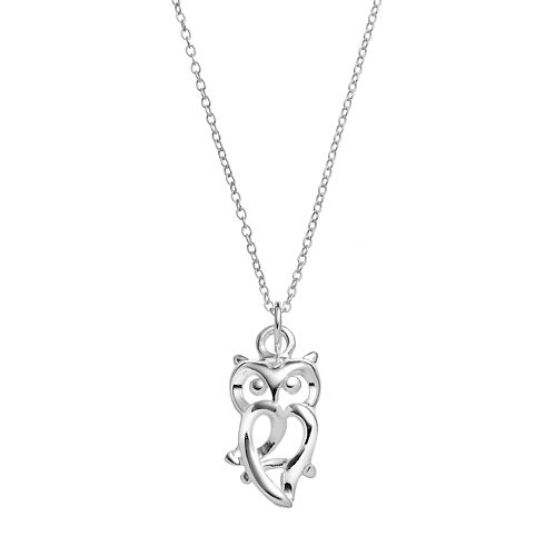 Primrose sterling silver owl pendant necklace mozeypictures Image collections