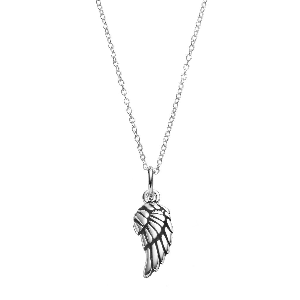 PRIMROSE Sterling Silver Angel Wing Pendant Necklace
