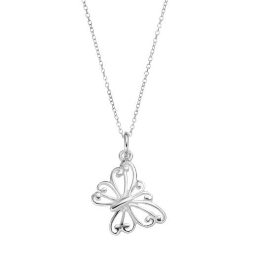 PRIMROSE Sterling Silver Butterfly Pendant Necklace