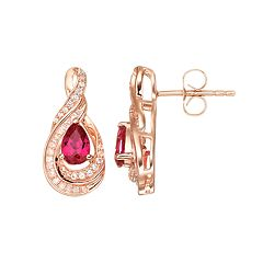 14k Rose Gold Over Sterling Silver Lab-Created Ruby & White Sapphire Swirl Drop Earrings