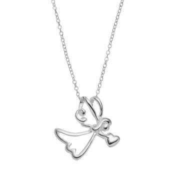 PRIMROSE Sterling Silver Angel Pendant Necklace