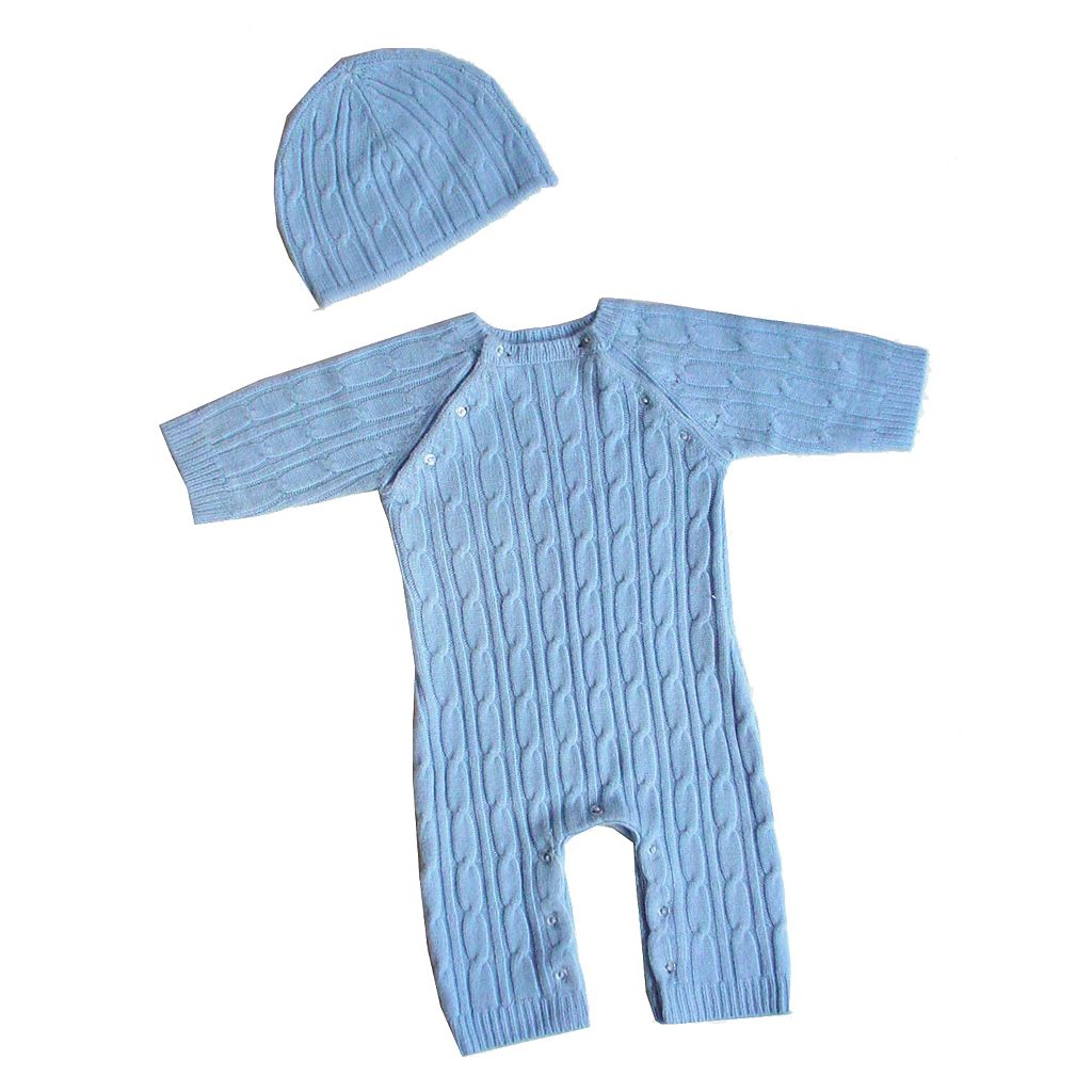 Sleeping Partners 2-pc. Faux-Pashmina Cable-Knit Set - Blue