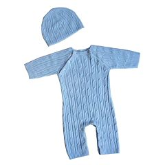 Sleeping Partners 2 pc Faux-Pashmina Cable-Knit Set - Blue