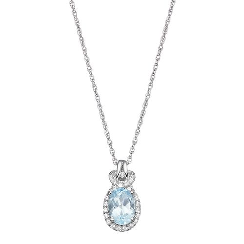 Sterling Silver Blue Topaz & Lab-Created White Sapphire Oval Halo Pendant