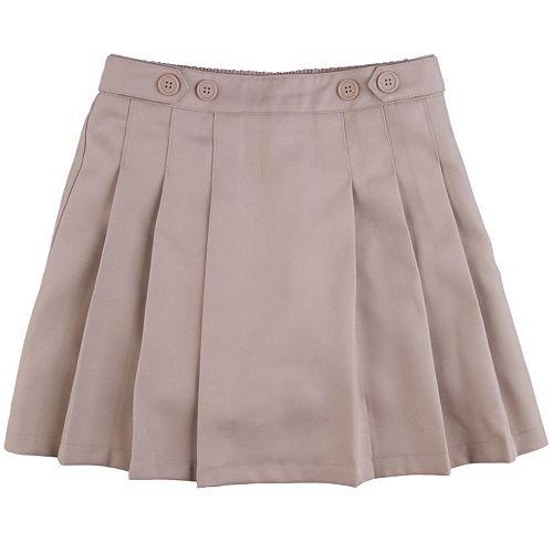 Girls 4-16 & Plus Chaps Pleated School Uniform Button-Accent Skort