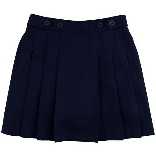 Girls 4-16 & Plus Chaps Pleated School Uniform Button-Accent Skort
