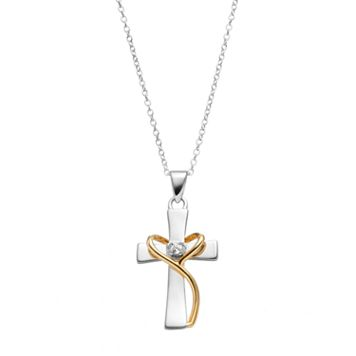 PRIMROSE Two Tone Sterling Silver Cubic Zirconia Cross Pendant