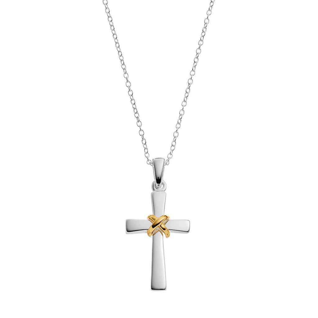 PRIMROSE Two Tone Sterling Silver Cross Pendant Necklace