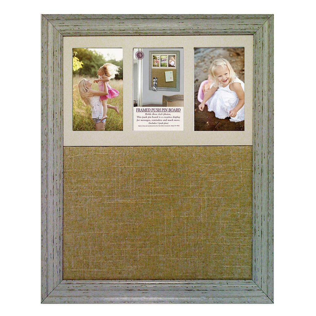 New View Burlap Message Board 3-Opening Photo Collage