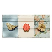 New View Bird & Flower 3-Hook Wall Decor
