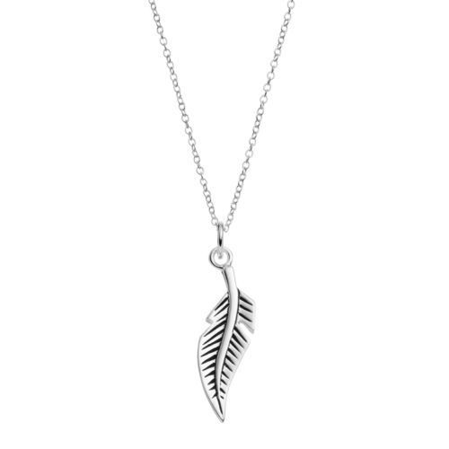 PRIMROSE Sterling Silver Feather Pendant Necklace