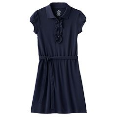 Girls 4-14 Chaps School Uniform Ruffled Polo Shirt Dress
