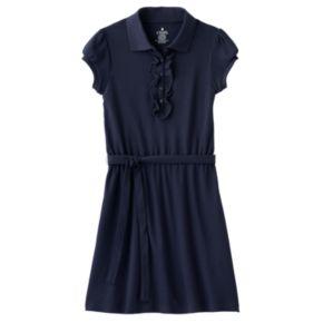 Girls 4-14 Chaps School Uniform Ruffled Polo Shirt Dress