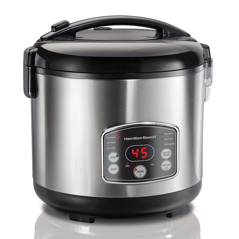 Hamilton Beach 20-Cup Digital Rice Cooker, Grey