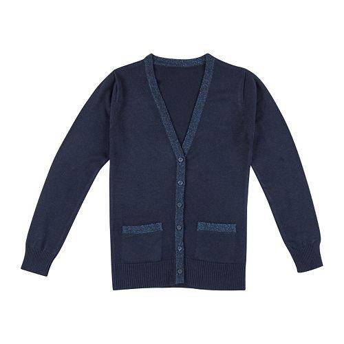 Girls 4-16 Chaps School Uniform Lurex Boyfriend Sweater