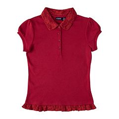 Girls 4-16 Chaps School Uniform Lace Ruffle Polo