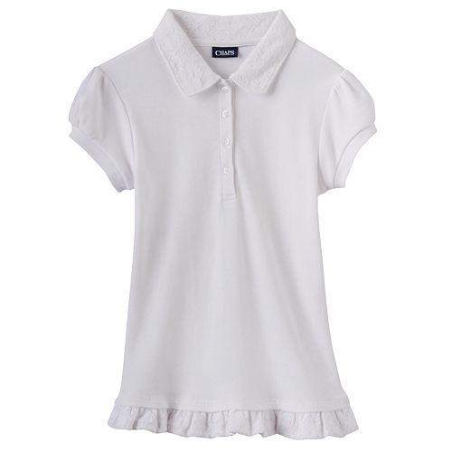 Girls 4-16 Chaps School Uniform Lace Ruffle Polo