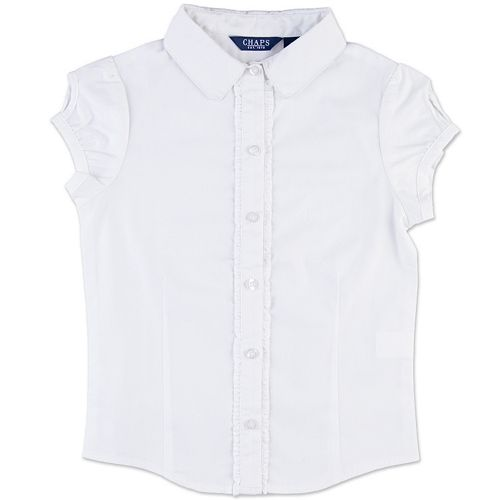 Girls 4-16 Chaps School Uniform Ruffled Keyhole Shirt