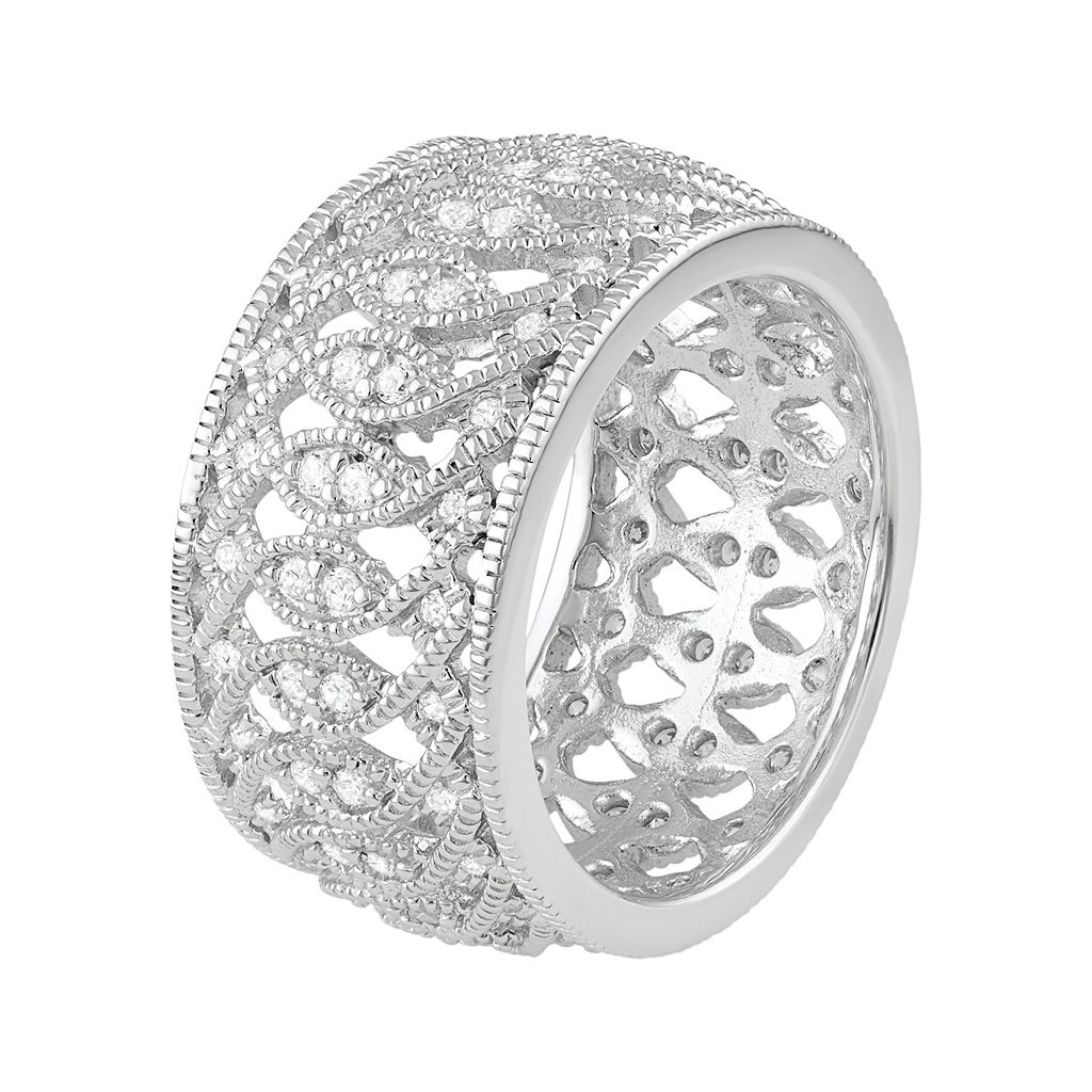 Journee Collection Sterling Silver Cubic Zirconia Marquise Ring