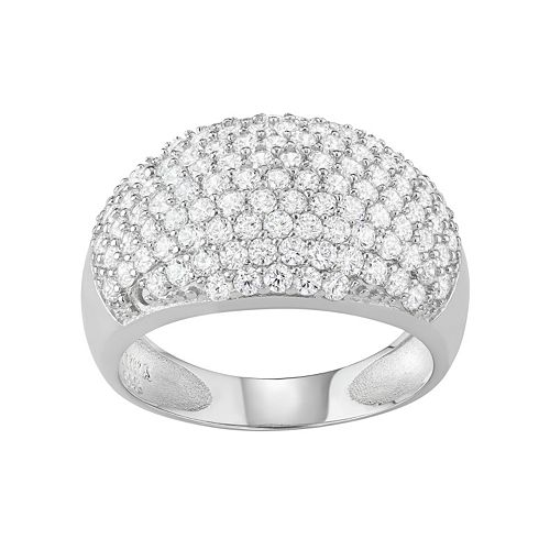 Journee Collection Sterling Silver Cubic Zirconia Dome Ring