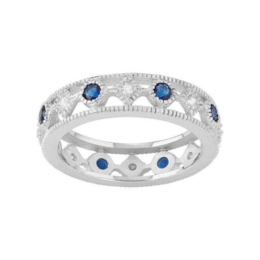 Journee Collection Sterling Silver Blue & White Cubic Zirconia Ring
