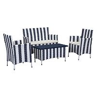 Safavieh Figueroa Striped Outdoor Loveseat 4 pc Set