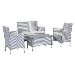 Safavieh Figueroa Chevron Outdoor Loveseat 4 pc Set