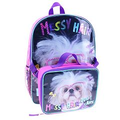 Kids Dog 'Messy Hair Don't Care' Backpack & Lunch Bag Set