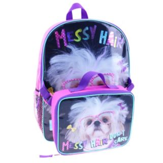 "Kids Dog ""Messy Hair Don't Care"" Backpack & Lunch Bag Set"