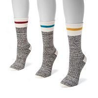 Women's MUK LUKS 3-pk. Marled Stripe Boot Crew Socks